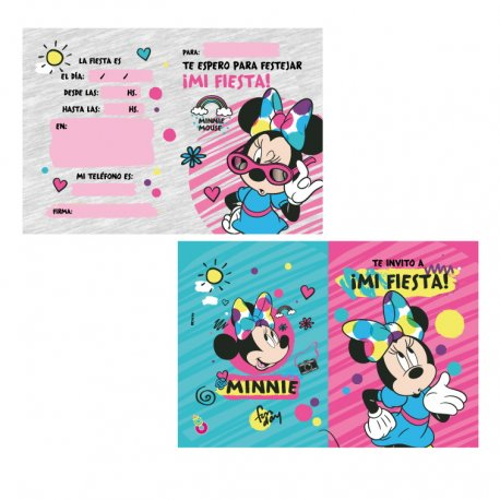 Invitaciones Minnie Grandes x10