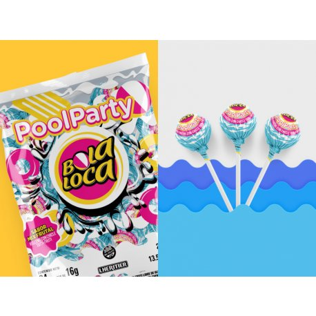 Chupetin con Chicle Bola Loca Pool Party x 24