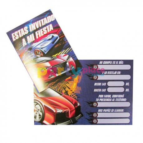Invitaciones Hot Wheels x10